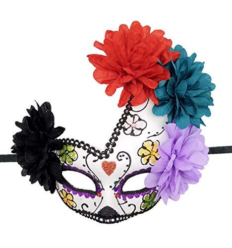 Women's Masquerade Mask Day of The Dead Mask Venetian Halloween Carnival Event Party Mask (Red Hearts)