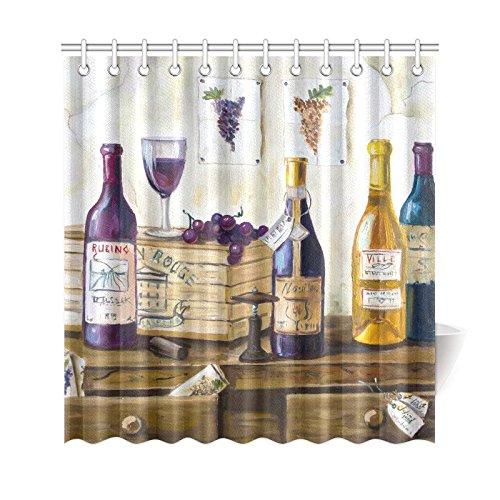 InterestPrint Vintage Retro Home Bath Decor, Still Life Bottle of Wine Grapes Polyester Fabric Shower Curtain Bathroom Sets 69 X 72 (Japanese Still Life)