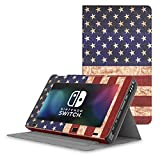 [Fourth of July] MoKo Nintendo Switch Case, Protective Slim Folding [Multi-Angle Viewing] Stand Cover, Lightweight & Anti-scratch, for Nintendo Switch Console(2017) - US Flag