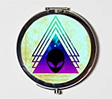 Triangle Alien Compact Mirror UFO Aliens Surreal Outerspace Outer Space Universe Pocket Size for Makeup Cosmetics