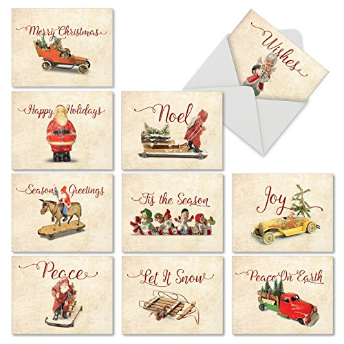 M6719XSG Christmas Antiquities: 10 Assorted Christmas Note Cards Featuring Classical Christmas Toys and Holiday Greetings, w/White Envelopes.