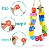 TOP BRIGHT Wooden Lacing Beads Toys for Toddlers