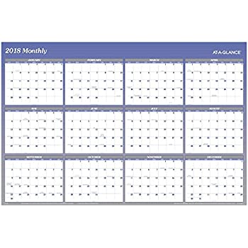 """AT-A-GLANCE Yearly Wall Planner, January 2018 - December 2018, 48"""" x 32"""", Vertical, Horizontal, Erasable, Reversible, Blue (A1152)"""