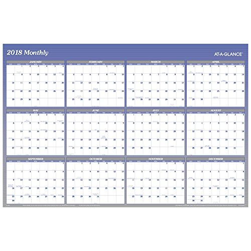 "AT-A-GLANCE Yearly Wall Planner, January 2018 - December 2018, 48"" x 32"", Vertical, Horizontal, Erasable, Reversible, Blue (A1152)"