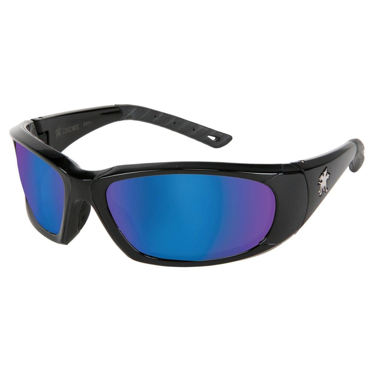 Crews FF318B ForceFlex S/Glasses Opaque Blk Frme Blu Diamond Mirror Lens(1 Pair)