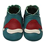 Mejale Soft Sole Leather Baby Shoes Infant Toddler First Walkers Moccasins With Xmas Santa Hat(Dark Green,24-36 Months)