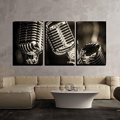Closeup of Chromed Retro Recording Studio Microphones x3 Panels