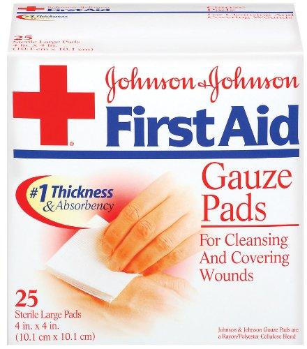 Johnson & Johnson Premières Compresses d'aide (4 x 4 pouces), 25-Count grands tampons (paquet de 2)