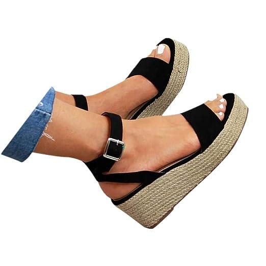 a6cd6bf546aa2 Cenglings Wedges Sandals,Women's Open Toe Leopard Print Ankle Strap Buckle  Platform Wedges Espadrilles Flatform Roman Shoes