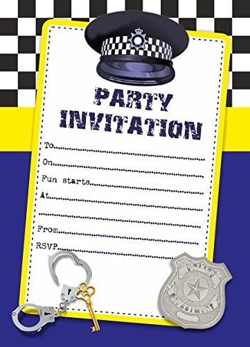 10 x Police Children Birthday Party Invitations ABV Designs