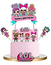 Bsstr LOL Cake Topper, Happy Birthday Cake Topper, Pink Cake Decorations for Baby Theme Party - Single Side 1 count (Pink)