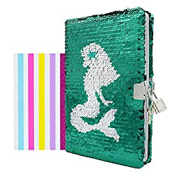 Mermaid2 In Sequins Notebook Diary with Lock and Key