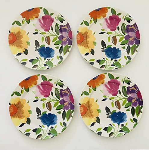 Set Of 4 | Provence Garden Pattern | White With Floral Design Of Blue, Yellow, Orange, Pink And Purple Porcelain | Lunch | Salad | Dessert | Plates | 8 inches