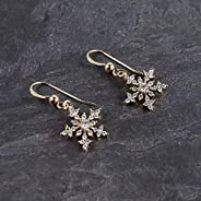 Gold Metal Crystal Snowflake Dangle Earrings Jewelry Gift for Women
