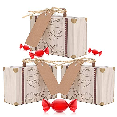 50 Pcs New Mini Candy Box Wedding Favor, European Retro Airplane Suitcase Wedding Bridal Party Decoration Candy Chocolates Packaging, With Tags And Burlap Twine (Bridal Hang Tags)