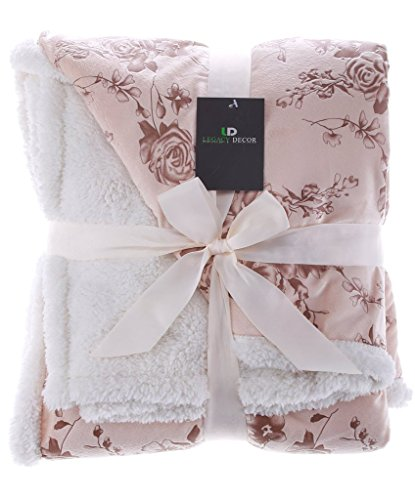 Legacy Decor Sherpa and Micro Fur Floral Embossed Throw Blanket Beige Color Floral Blanket