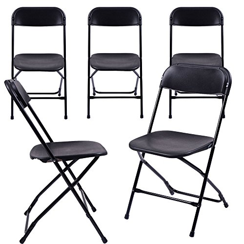 - (5 Pack) Commercial Wedding Quality Stackable Plastic Folding Chairs Black