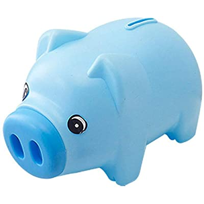 BOLLAER Cartoon Piggy Bank, Plastic Piggy Bank Coin Saving Pot Cash Collectible Saving Box Pig Toys: Toys & Games
