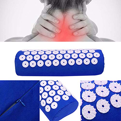 Acupressure Mat,Bed Grounding Mat Acupuncture Needles Back and Neck Pain Relief for Yoga and Travel,Relieves Stress,Lower Back Pain Relief (Blue) by Aquapro (Image #2)