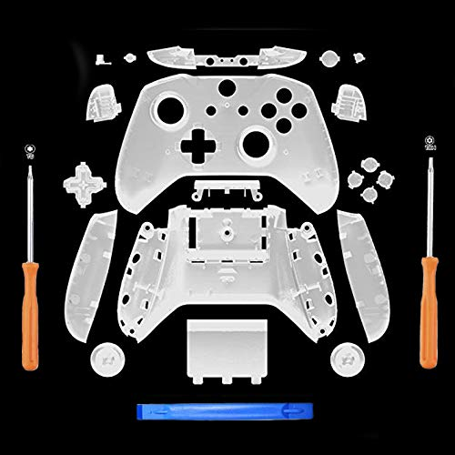 Awaqi Replacement Matte Full Housing Shell Set Faceplates + ABXY Buttons + RB LB Bumpers Full Buttons for Xbox One S Slim Controllers Repair Parts (3.5 mm Headphone Jack) (Clear)