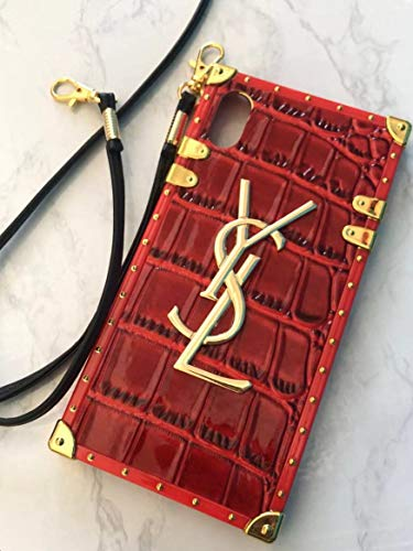 Case for iPhone Xs Max, TPU Trunk Monogram Case Vintage Luxury iPhone Xs Max Case with Lanyard