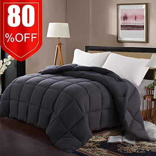 (EDILLY Luxury Down Alternative Quilted Queen Comforter-Stand Alone Comforter for Queen Size Bed,Year Round Duvet Insert with 4 Corner Tabs,88''x 88'',Dark Grey)