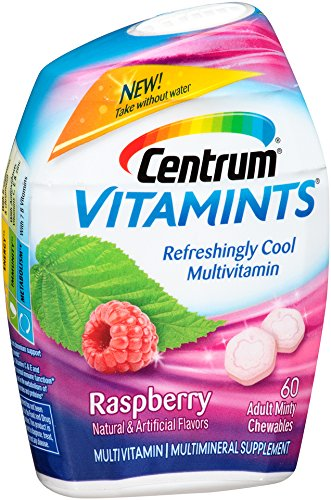 Centrum Adult VitaMints (60 Count, Raspberry Flavor) Multivitamin / Multimineral Supplement Chewable, B Vitamins, - Multi Mint