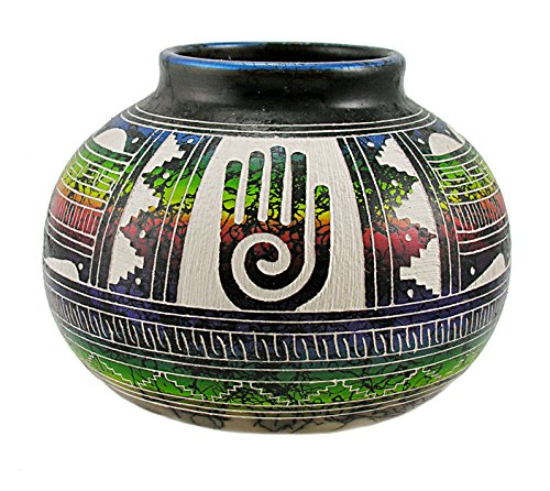 Native American Indian Pottery Horsehair Vase By Marshalene