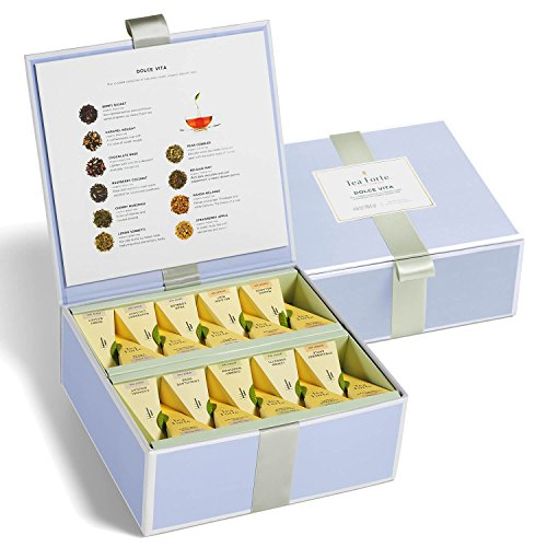Lemon Tazo (Tea Forté Tea Chest Dolce Vita Assorted Organic Dessert Tea with 40 Handcrafted Pyramid Tea Infusers - Chocolate Rose, Caramel Nougat, Belgian Mint and more)