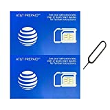 Wireless : (2 Pack) Authentic AT&T ATT SIM Card Micro/Nano/Standard GSM 4G/3G/2G LTE Prepaid/Postpaid Starter Kit Unactivated Talk Text Data & Hotspot (+ Free Tray Removal Remover Eject Pin Key Tool)