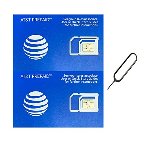 (2 Pack) Authentic AT&T ATT SIM Card Micro/Nano/Standard GSM 4G/3G/2G LTE Prepaid/Postpaid Starter Kit Unactivated Talk Text Data & Hotspot (+ Free Tray Removal Remover Eject Pin Key Tool) (Gophone Card Sim)