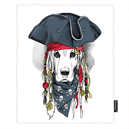 Moslion Dog Blanket Cool Animal Cocker Spaniel Puppy in Pirate Hat Bandanna Dreadlocks Throw Blanket Flannel Home Decorative Soft Cozy Blankets 6080 Inch for Adults Kids Sofa