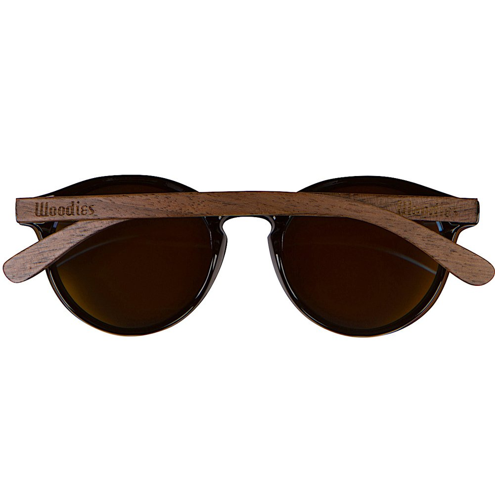 WOODIES Walnut Wood Foster Style Sunglasses with Flat Blue Mirror Polarized Lens by Woodies (Image #3)