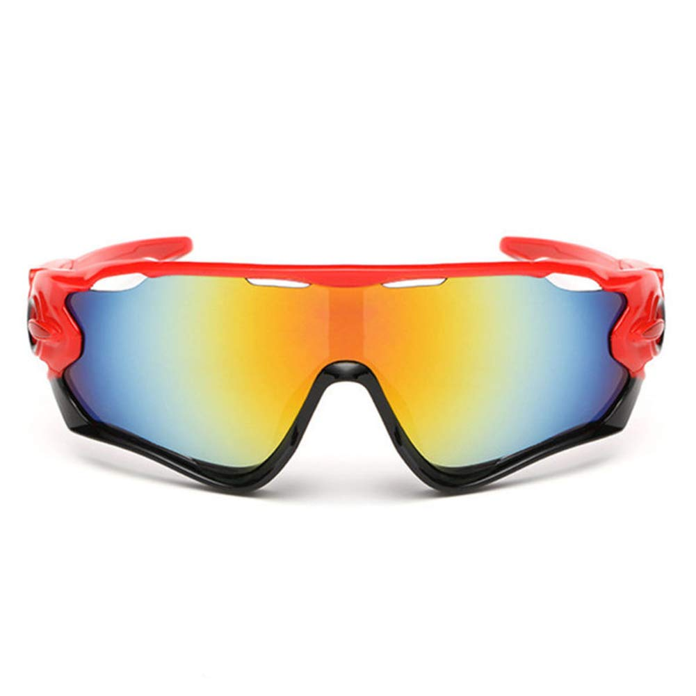 haixclvyE Sports Sunglasses New Polarized Goggles Cycling Glasses UV Protection for Cycling Running Unisex Cycling Goggles Red Frame+Colorful Lens