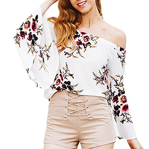 Chiffon Bell Sleeve (Just Model Women's Sexy Floral Off The Shoulder Bell Sleeve Chiffon Blouse Casual Shirt Tops XX-Large White)