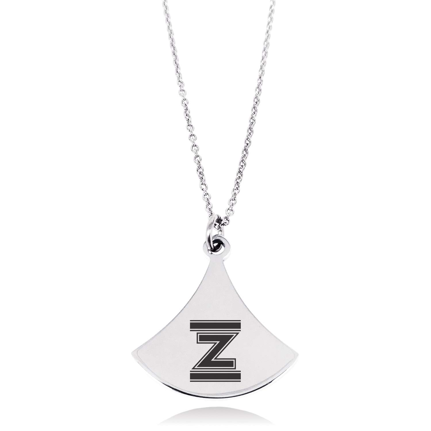 Stainless Steel Letter Z Initial Empire Monogram Pendulum Curved Triangle Charm Pendant Necklace