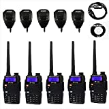 Baofeng Pofung BF-F9+TP Tri-Power 8/4/1W Two-Way Radio Transceiver (F9+ Upgraded Version with Tri-Power), Dual Band UHF/VHF 136-174/400-520MHz 5 Two-Way Radio with 5 Remote Speaker 1 Programming Cable