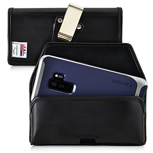 Turtleback Belt Case for Galaxy S9 Plus + and S8 Plus +, Black Holster Leather Pouch with Heavy Duty Rotating Ratcheting Belt Clip Horizontal Made in USA