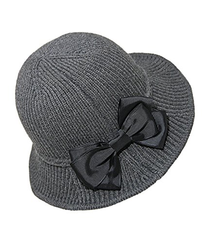 Urban CoCo Women's Wool Blend Foldable Hat Bow Trim Cloche Cap (Dark (Ribbon Bow Trim)