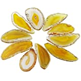 rockcloud 10 Pcs Agate Light Table Slices, Healing Crystals Geode Stones,Irregular Home Decoration Jewelry Making,Yellow