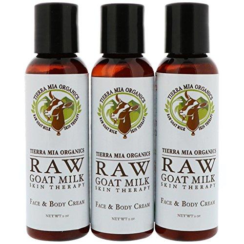 Tierra Mia Organics Raw Goat Milk Skin Therapy Face Body Cream Lemon Verbena Coconut Patchouli 3 Bottles 2 oz 56 g Each