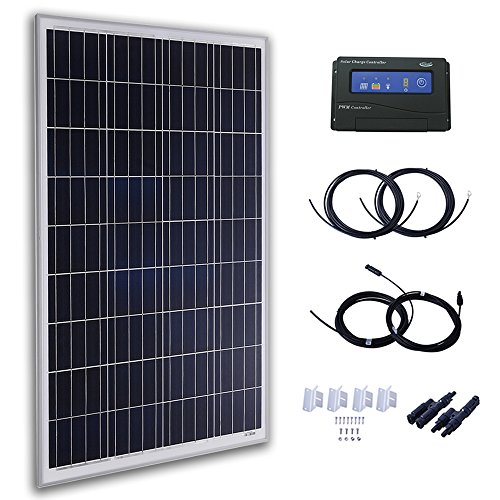 Komaes 100 Watts 12 Volts Polycrystalline Solar Panel Kit with 20A PWM Charge Controller + 20ft Tray Cable + 20ft MC4 Connectors + Mounting Z Brackets by KOMAES