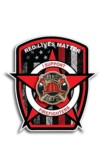 Thin Red Line Flag Firefighter Fire Department Fire Truck Red Lives Matter Decal Sticker Car Truck RLM ()