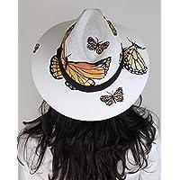SOLSTIZO Sombrero Panamá MARIPOSAS MONARCAS pintado a mano