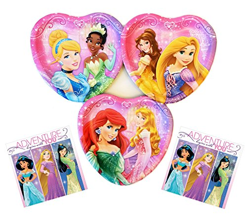 Disney Princess Party Plates (24 Plates) & Beverage Napkins (32 Napkins) Party Pack. Bundle of 5. -