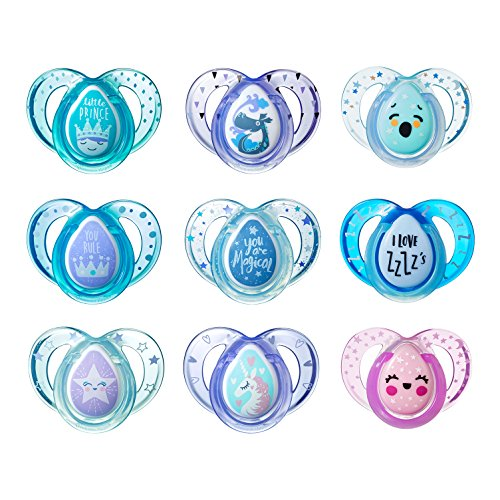 Tommee Tippee Day & Night Pacifiers, with Glow-In-The-Dark, BPA-free, 6-18 Months, 3 Count (Colors May Vary)