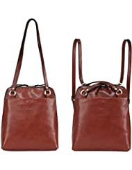 Banuce Italian Leather Small Dual Use Convertible Backpack/Shoulder Bag