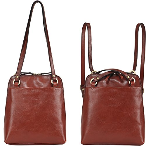 Banuce Womens Italian Leather Small Dual Use Convertible Backpack/Shoulder Bag Color Light Brown -