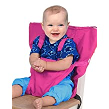 Baby Portable High Chair Seats Cover Safety Harness Toddler Foldable Safety Sack Belt, Rose