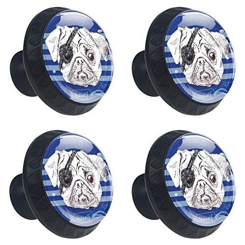 (Anmarco Pirate Pug Dog Drawer Knobs Pull Handles 30MM 4 Pcs Glass Cabinet Drawer Pulls for Home Kitchen Cupboard)